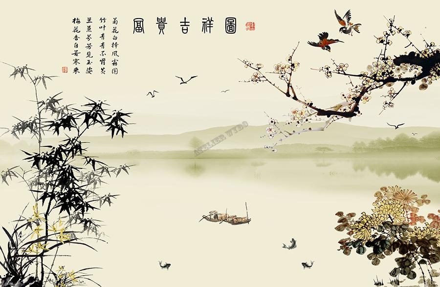 Tapisserie Asiatique Poster Zen Japonais Dcor Evnementiel  Papier peint Sol 3D