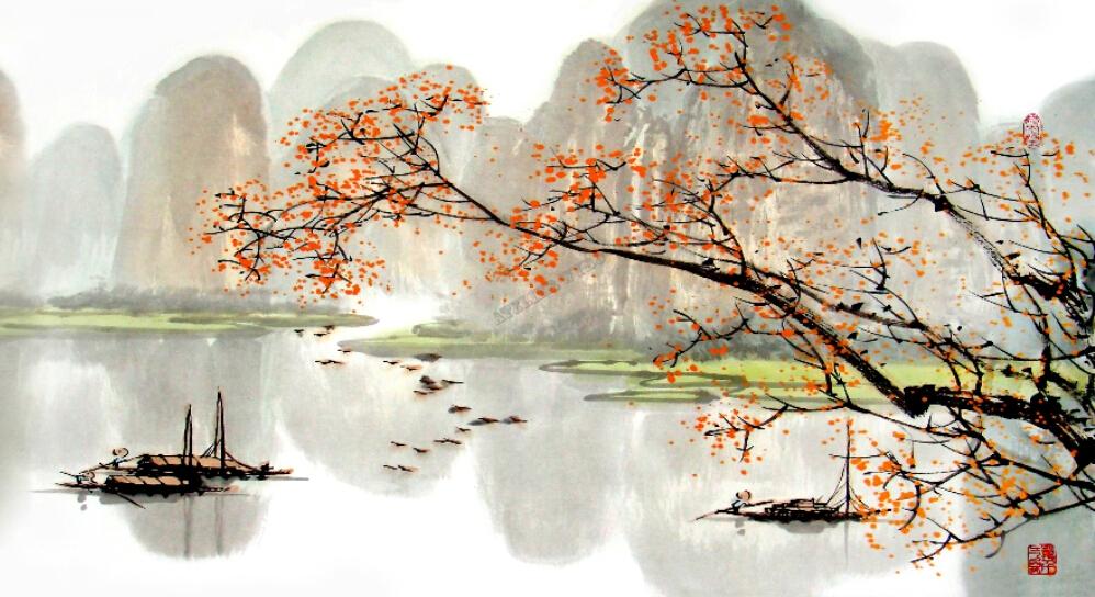 papier peint chinois sur mesure tapisserie numrique paysage dautomne