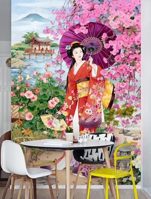 Papier peint asiatique personnalis style japonais portrait promenade dans le jardin en