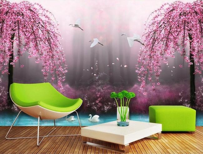 tapisserie numrique paysage fantaisie les cygnes avec les fleurs rose  Papier peint Sol 3D