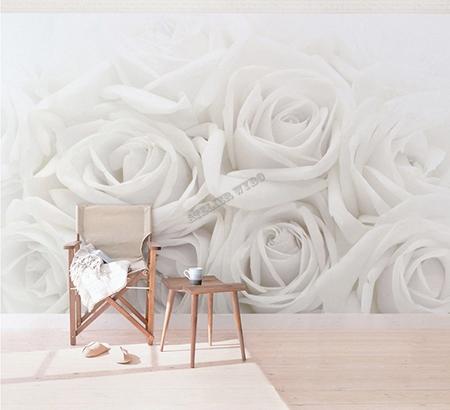 poster gant fleur tapisserie panoramique papier peint photo romantique rose blanche  Papier