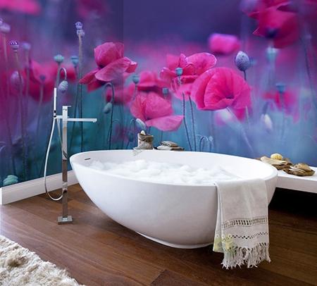 lambris pvc imprime photo paysage fleur sdb douche baignoire atelier wybo