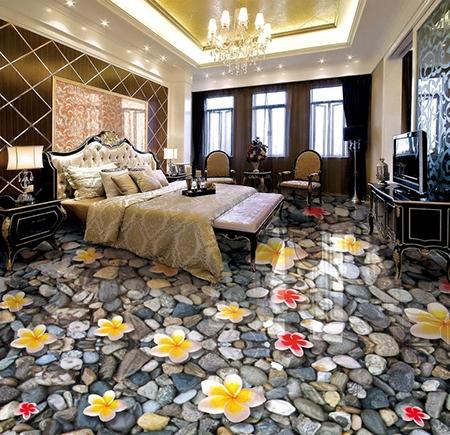 revetement sol 3d lino pvc vinyle chambre salle de bain cuisine les fleurs sur les cailloux atelier wybo