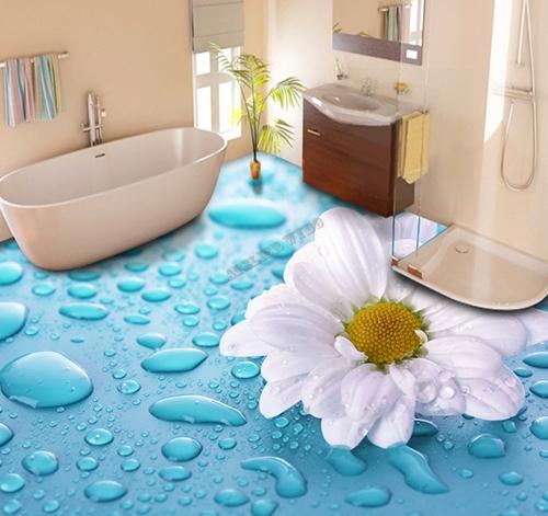 revetement de sol salle de bain personnalise vinyle auto adhesif pvc ignifuge marguerite sur goutte d eau atelier wybo