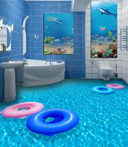 revetement sol pvc souple trompe l œil 3d special salle de bain piece humide les bouees sur la piscine atelier wybo