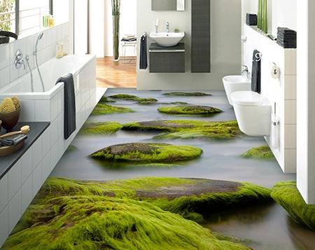decoration sol 3d lino trompe œil salle de bain cuisine chambre a coucher mousse sur les pierres dans le brouillard atelier wybo