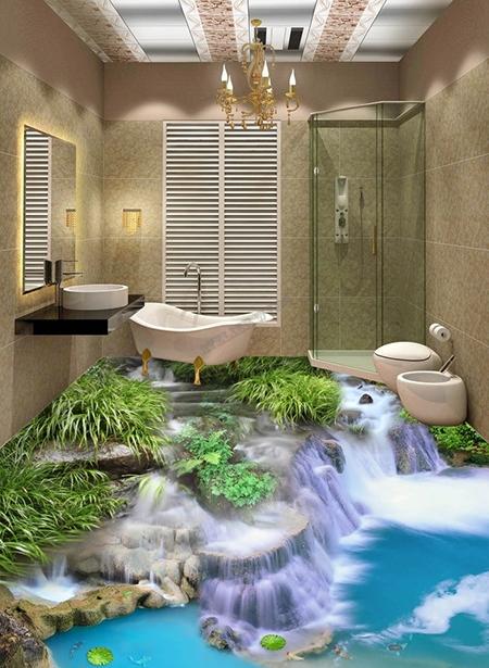 Sol 3d Salle De Bain Toilettes Cuisine Paysage Zen Trompe