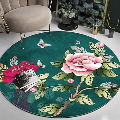 tapis 3d personnalise chinois fleur rose papillon fond vert atelier wybo