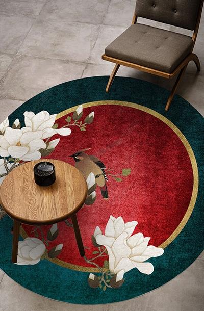 https laboutiquedemei fr tapis chinois 1166 tapis chinois floral forme ronde magnolia blanc et oiseaux sur fond rouge vert et or html