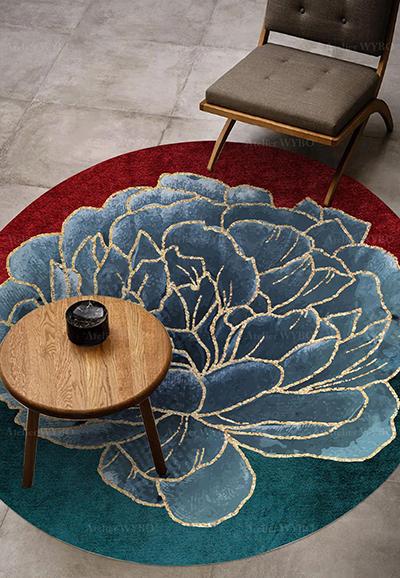 tapis laine dore haut de gamme fleur bleue fond rouge vert atelier wybo