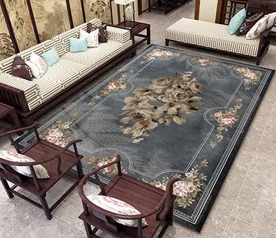 tapis traditionnel motif symetrique fleurs et fougeres sur fond gris atelier wybo