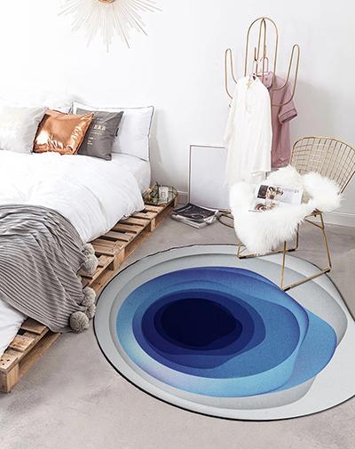tapis rond irregulier design contemporain bleu degradee gris atelier wybo