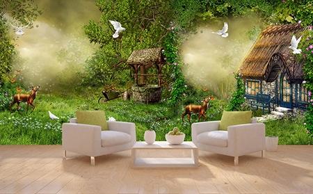 dcoration murale grand panoramique papier peint photo personnalis paysage fantaisie maison