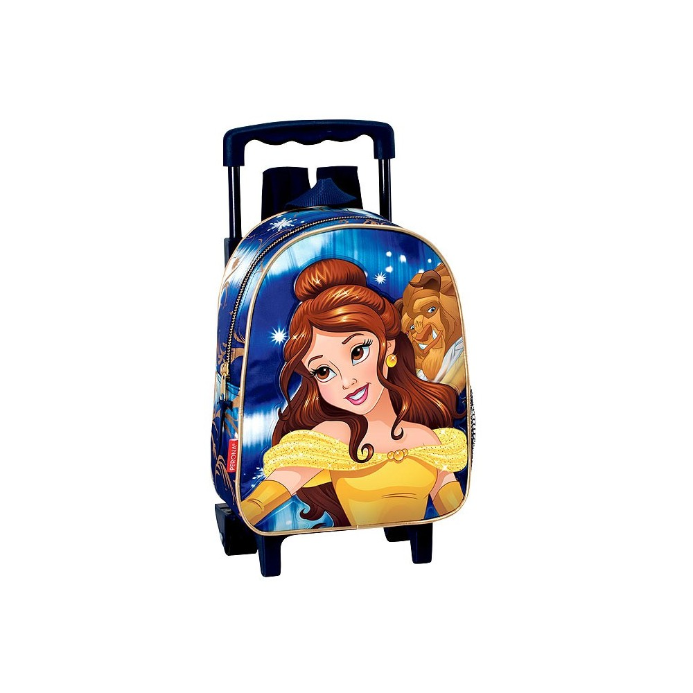 sac a roulettes maternelle princesse bella 28 cm trolley cartable la belle et la bete