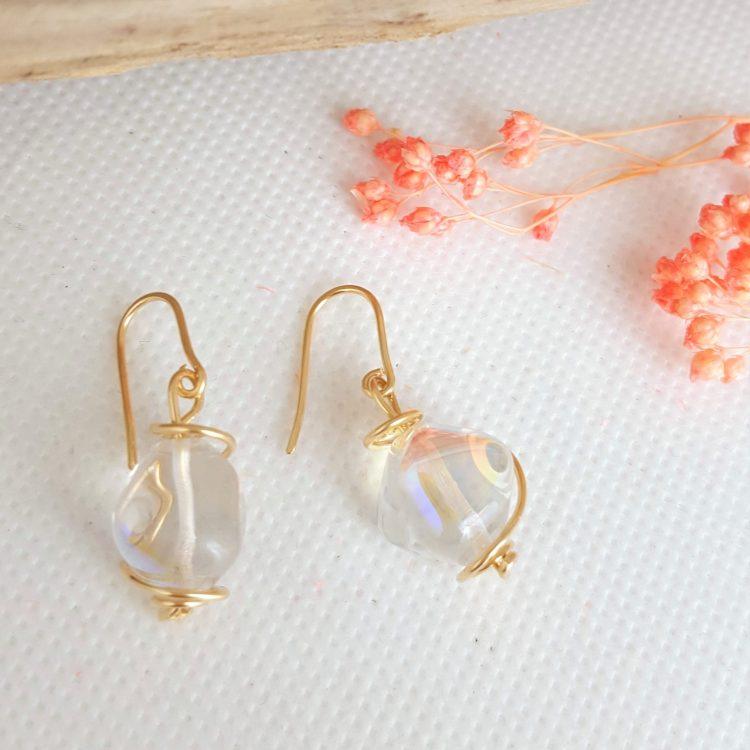 boucles d'oreilles argent et plaqué-or femme