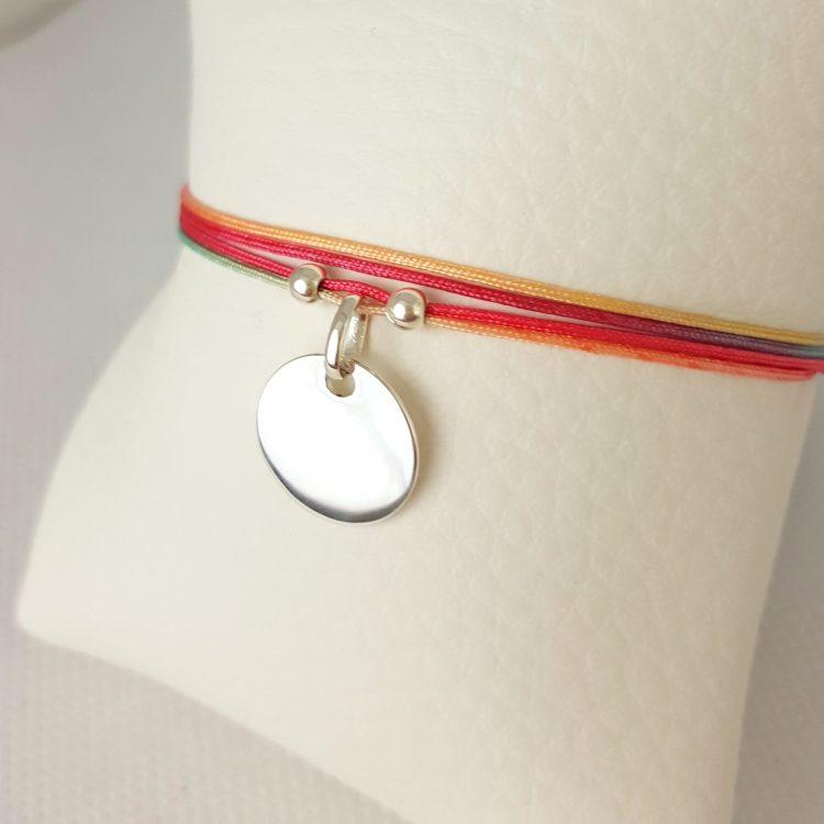 bracelet cordon femme medaille