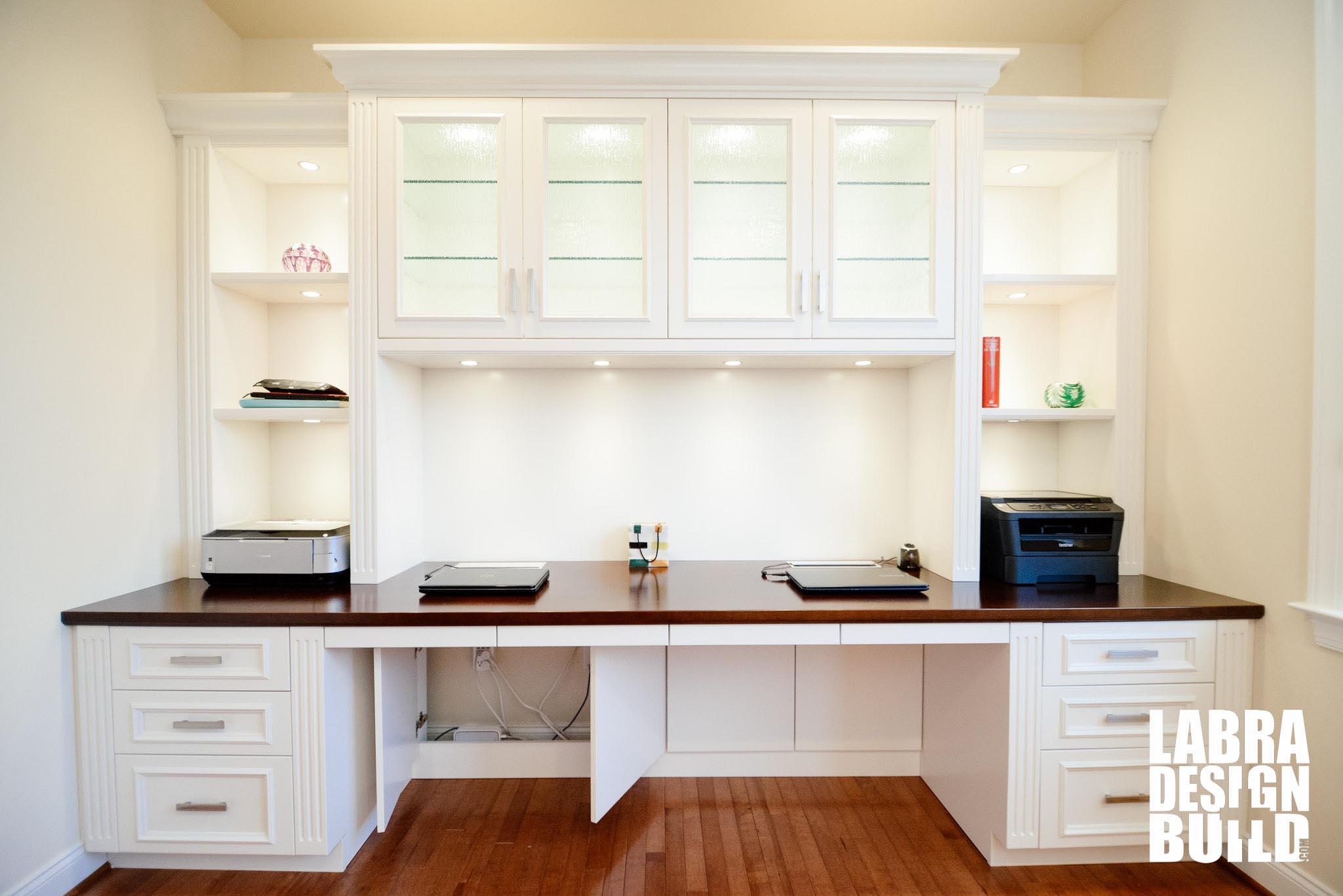 Traditional White Painted Maple BuiltIn Desk Northville MI