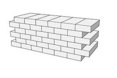 Cuadro de texto: La traba correcta entre muros y riostras debe hacerse en cada hilada para conseguir un empotramiento perfecto entre ambos, adentrando alternativamente las piezas de un muro dentro del otro.