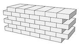 Cuadro de texto: - Muro doblado: formado por dos hojas de muro colocadas a soga, formando una pared doble continua, unidas con llaves, conectores o armaduras de tendel, para que trabajen como un solo muro. El espesor en este tipo de muro lo determinará la suma de los tizones de las dos piezas más la junta que quede entre las dos.