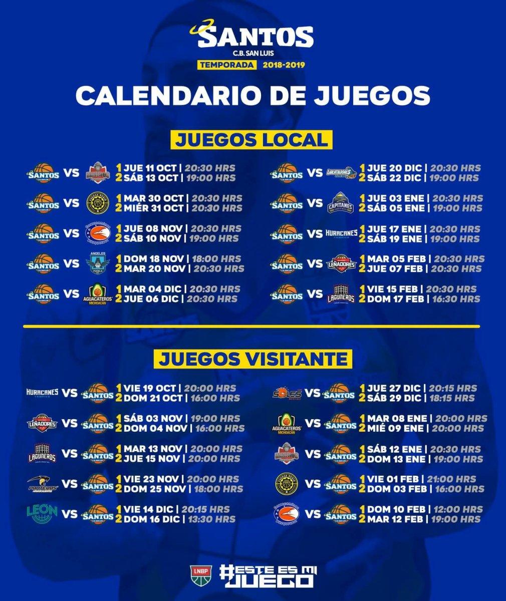 CB Santos San Luis Presenta su Calendario para la Temporada 2018 - 2019