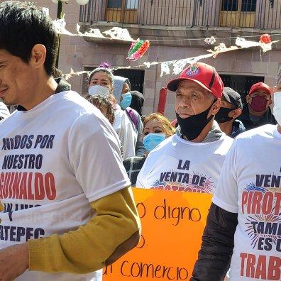 Protesta Coheteros en el Centro Histórico