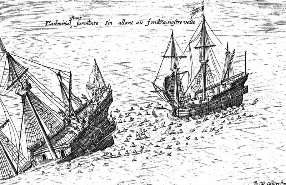The sinking of the San Diego, the Spanish galleon that carried Japanese mercenaries to stop a Dutch invasion