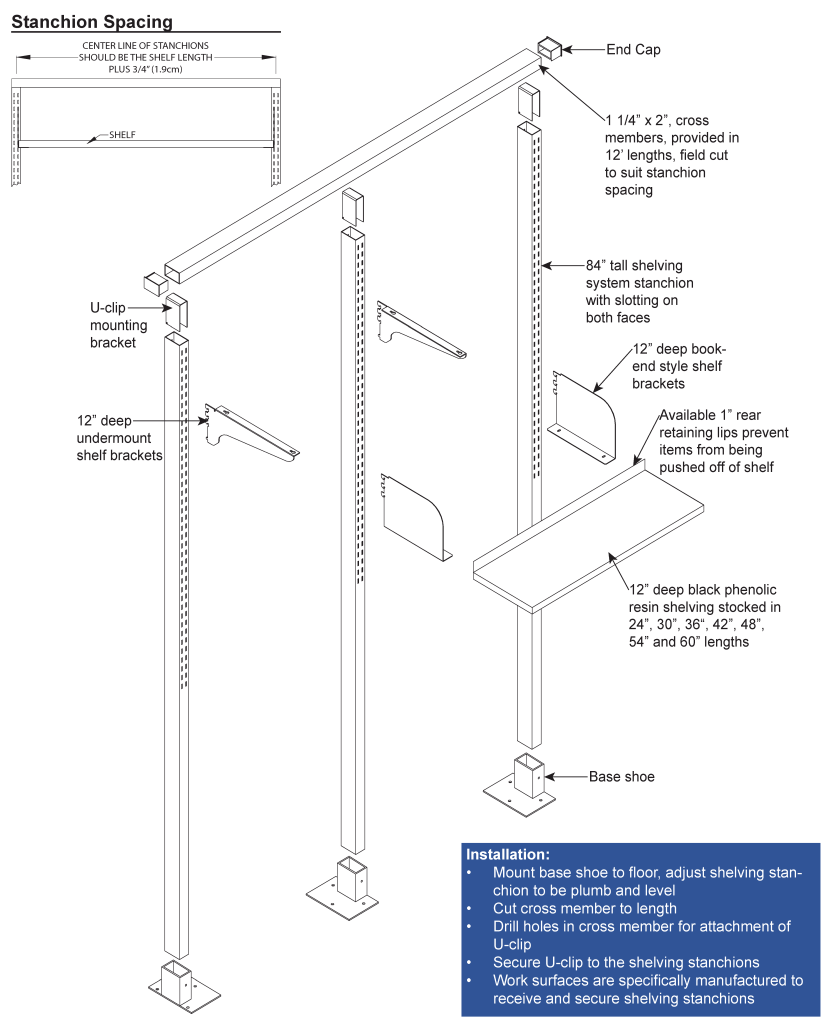 Laboratory Shelving Systems Drawing Diagram
