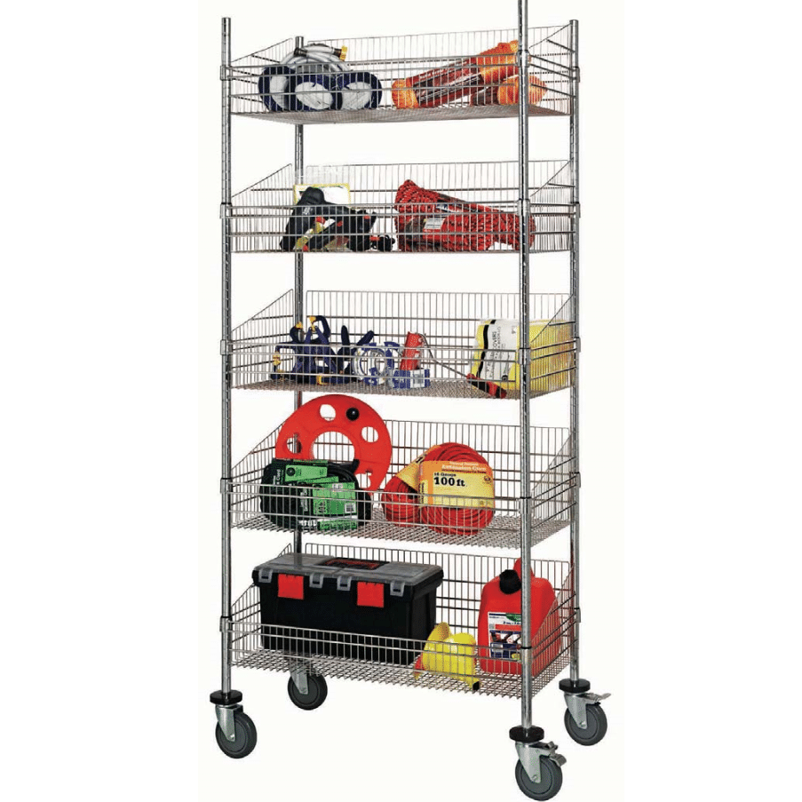Wire Lab Shelving on wheels