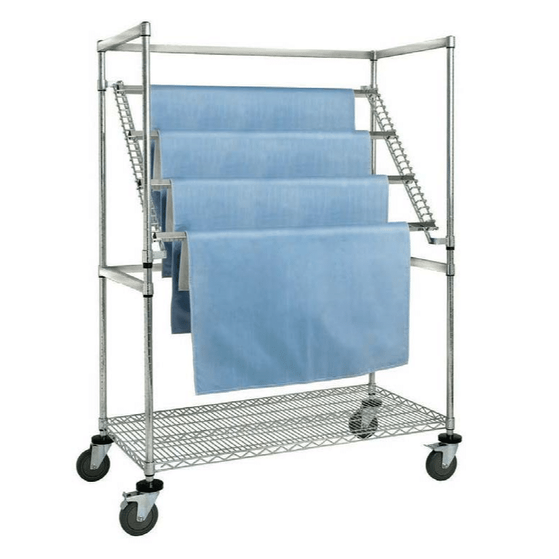 Cart of hanging blankets