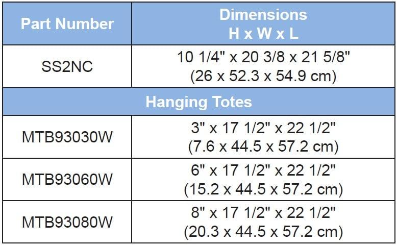 Wire Super Slide Size Chart