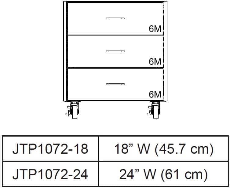 Table drawer Cabinets front view and size chart