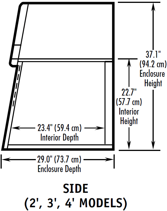 Powder Fume Hood Side Dimensions Chart