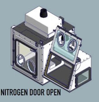containment enclosure for virus research Nitrogen Door Open