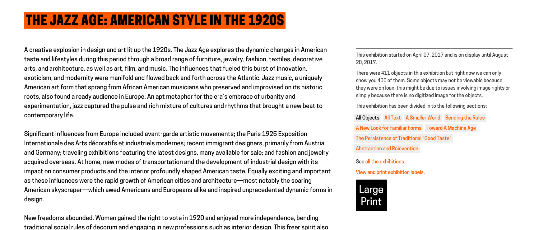 hight resolution of image of a web screenshot depicting large print label link heading reads exhibition title the