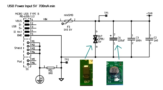 micro usb type b wiring diagram electrical symbols house raspberry pi domipheus labs page 2 silver capacitor near the socket this is last item in way on top of board and as you can see from schematic