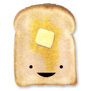 smiling toasted bread
