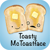 Download image link for Toasty McToastface ASCII iMessage Stickers