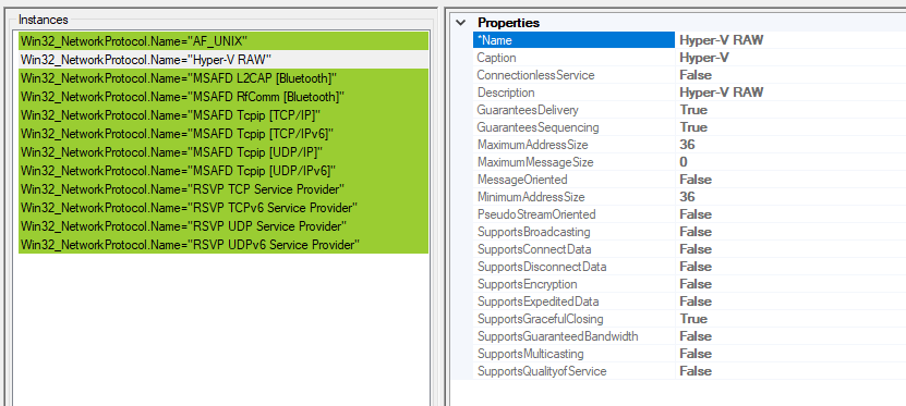 A screenshot showing WMI information for the Win32_NetworkProtocol class. The left pane shows instances of the class. The Hyper-V RAW instance is selected. The right panel shows the properties of this class instance. The instance name is Hyper-V. The minimum and maximum address sizes are shown as 36. Protocol flags for Guarantees Delivery, Guarantees Sequencing, and Supports Graceful Closing are set. All other protocol flags are false.
