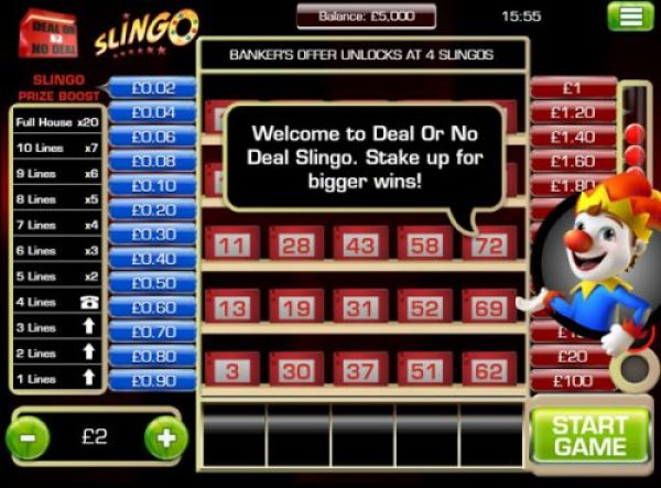 How to play Deal or no Deal Slingo?