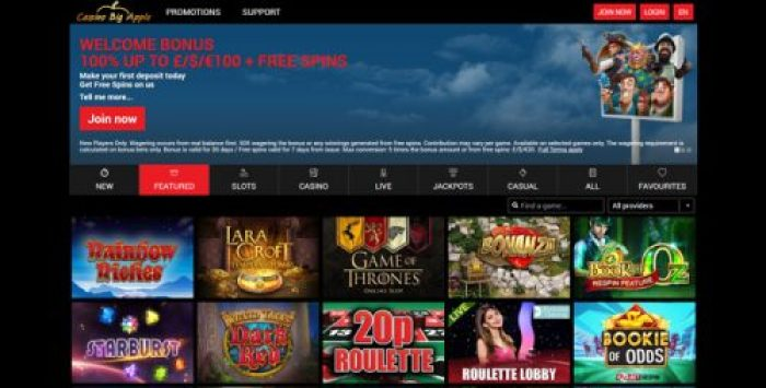 Casino Big Apple homepage