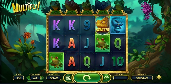 Multifly online slot game screen