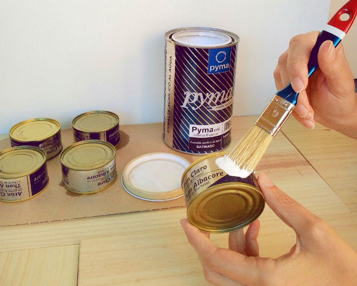 2 - Portavelas con latas de conserva - Paso 1