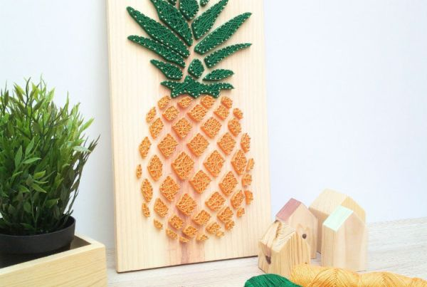 DIY Haz un hilorama con forma de piña