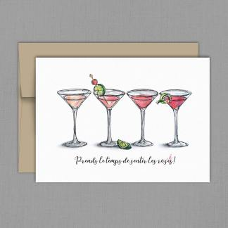 fêtes grenadine carte martini rose