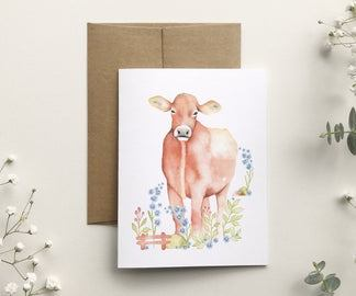 katrinn illustration carte sans texte la vache brune
