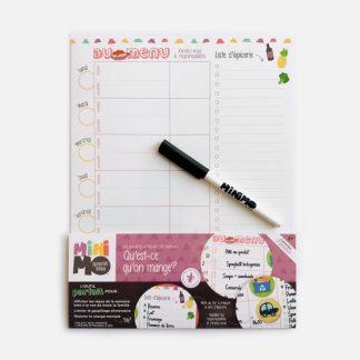 minimo planificateur de menu tableau et crayon