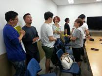 Students mingling in class