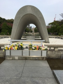 The most famous building that remains standing after the Hiroshima blast is visible in the background.