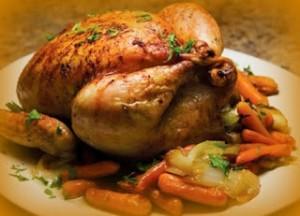 Pollo fresco relleno con vegetales