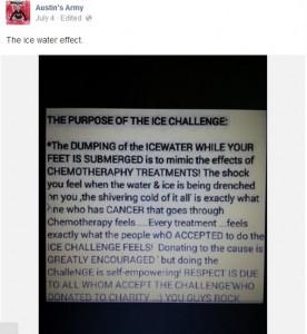 """Imagen de pantalla de la publicación del propósito original del """"Reto de la cubeta de agua con hielo""""."""